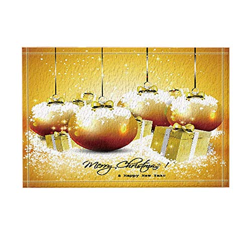 ottbrn Badmat, voor Nieuwjaar, bol, Kerstmis, goudkleurig, cadeau, ingangmat, deurmat, binnenruimte, badmat voor kinderen, badkameraccessoires, 15,7 x 23,6 inch