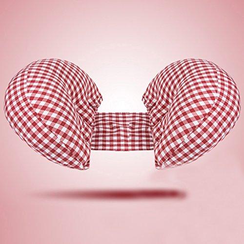Oreiller de grossesse, Oreillers lombaires maternels, Oreillers, Oreiller latéral multifonctionnel pour dormir, Oreillers de corps de type H, Oreillers de lit, Coussins de bébé, Coton, Damier. ( Color : Red and white grid )