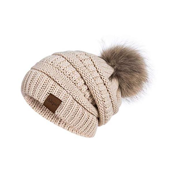 Alepo Winter Beanie Hat for Women, Real Fur Pom Pom Slouchy Chunky Knit Warm Fleece Lined Thermal Soft Ski Cap (Oatmeal)