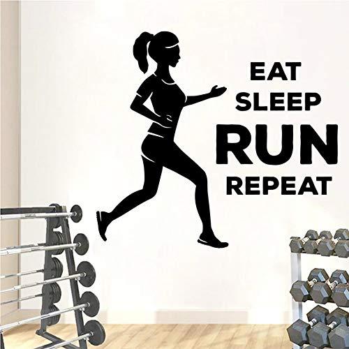 Etiqueta engomada de la pared de la aptitud Eat Sleep Run Repeat Gym Etiqueta de la pared del vinilo Etiqueta del dormitorio Bodybuilding Fitness Girl Mural
