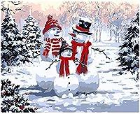 Diy 油絵大人の子供の絵画プレスデジタルキットデジタル油絵 16X20 インチ雪だるま家族 (フレーム付き)