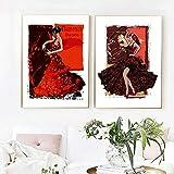 zuomo Mujer Flamenca española Bailarina ilustración Abstracta Lienzo Pintura Sala de Baile Cuadros de Pared España Impresiones artísticas decoración 50x70cm sin Marco