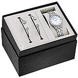 Bulova Box Set Quartz Ladies Watch, Stainless Steel Crystal , Silver-Tone (Model: 96X145)