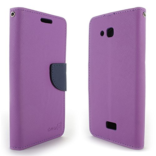 Kyocera Hydro Air Case, Kyocera Hydro Wave Case, CoverON [Carryall Series] Flip Folio Card Slot Pouch Cover LCD + Strap + Stand Wallet Case for Kyocera Hydro Air/Hydro Wave - Purple & Navy Blue