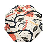 Paraguas de viaje compacto de flores, paraguas plegable para el aire libre para el sol del coche, resistente al viento, toldo reforzado, protección UV, mango ergonómico, apertura y cierre automático