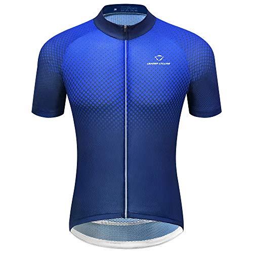 LEADER CYCLING Men's Cycling Jerseys Quick Dry Biking Shirt Summer Short Sleeve Gradient Blue