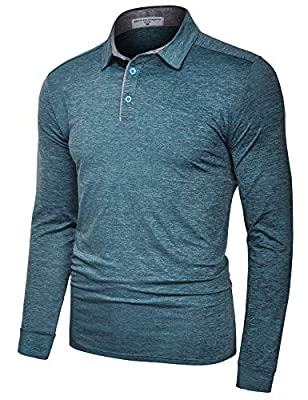 Derminpro Men's Performance Polo Shirts Long Sleeve Dri-Fit Breathable Golf T-Shirts Blue Green Large
