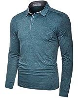 Derminpro Men's Performance Polo Shirts Long Sleeve Dri-Fit Breathable Golf T-Shirts Blue Green Medium