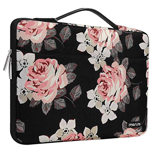 MOSISO Laptop Sleeve 360 Protective Case Bag Compatible with 13-13.3 inch MacBook Pro, MacBook Air, Notebook, Surface Laptop, Surface Book,Polyester Rose Shockproof Handbag with Trolley Belt, Black