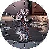 VIKMARI Reloj de Pared silenciosa para no tictac - ejecución del Caballo del patrón Pared de la Cocina Calidad del Reloj de Cuarzo con Pilas del Reloj de Pared Redondo 8 Inch Gato y Tigre