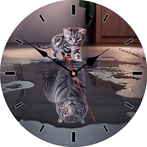 VIKMARI wanduhr Silent-Non Ticking - Running Horse Pattern küche wanduhr qualität Quarz-Batterie betrieben runde wanduhr 14 inch Katze und Tiger