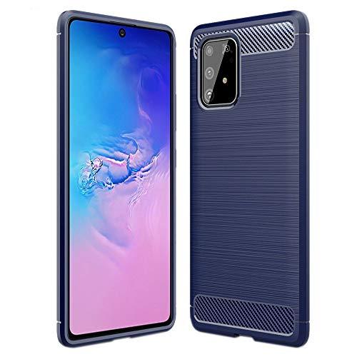 ebestStar - Cover Compatibile con Samsung Galaxy S10 Lite G770F Custodia Protezione Silicone Gel TPU Design Fibra di Carbonio Anti Scivolo, Blu Scuro [S10 Lite: 162.5 x 75.6 x 8.1mm, 6.7  ]