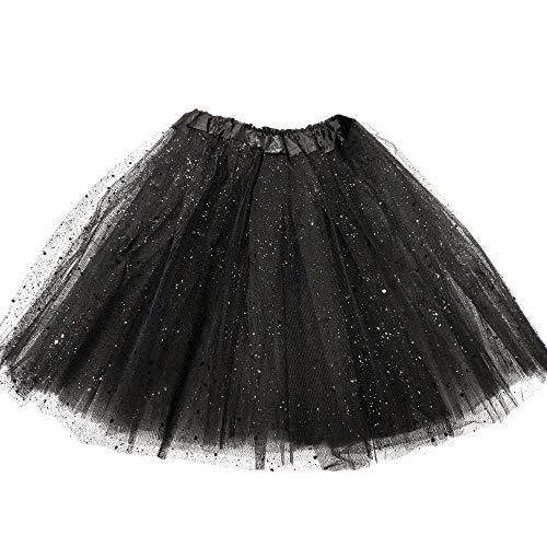 MUNDDY® - Tutu Elastico Tul 3 Capas 30 CM de Longitud para niña Bebe Distintas Colores Falda Disfraz Ballet (Negro con Purpurina)