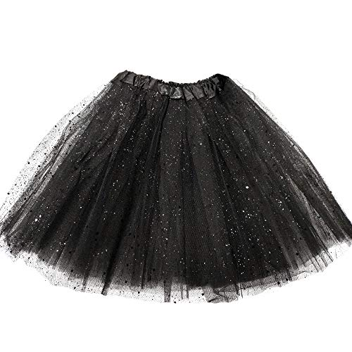 MUNDDY Tutu Elastico Tul 3 Capas 30 CM de Longitud para niña Bebe Distintas Colores Falda Disfraz Ballet (Negro con Purpurina)