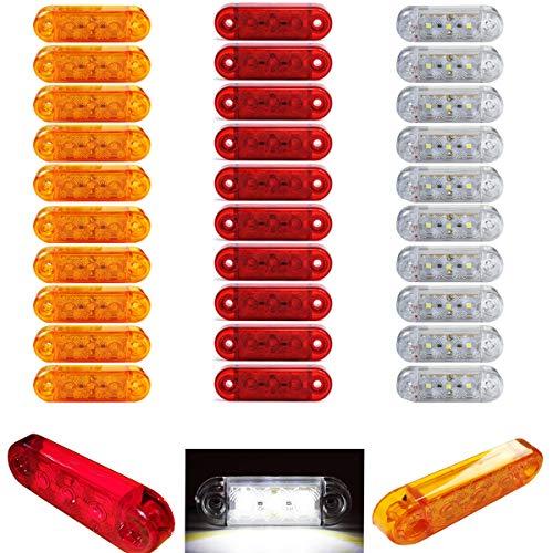 30 Stücke x Gemischt 3 SMD LED Begrenzungsleuchten Gelb, Rot, Weiß 12V 24V Positionsleuchten LKW Anhänger
