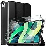 GesMa ipad Air 4 ケース ipad Air 2020 ケース new ipad air 用ケースガラスフィルムセット iPad Air(第四世代)適用ケースフィルム付き 2020年秋Newモデル10.9インチiPad Air 用カバー ワイヤレス充電対応 軽量 耐衝撃(ブラック)