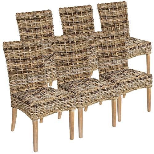Casamia Rattan-Stuhl Set 6 Stück Esszimmerstuhl New Bilbao aus Mangrove ohne Sitzkissen, One Size