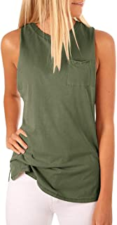 Tutorutor Women's High Neck Cami Tank Top Summer Sleeveless T Shirts Plain Pocket 2019 Tunic Tops Blouses Green