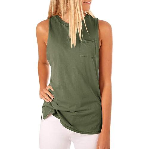 1943220c57 Women's High Neck Tank Top Sleeveless Blouse Plain T Shirts Pocket Cami  Summer Tops