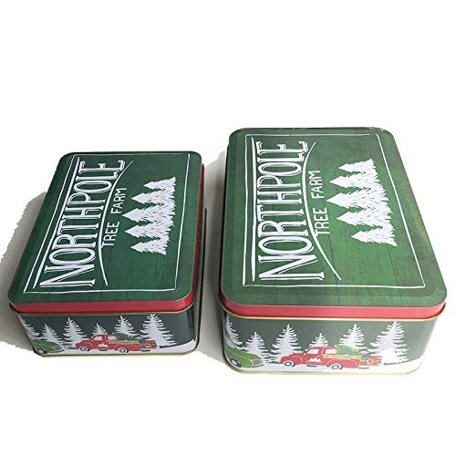 Christmas Cookie Tins with Lids for Gift Giving Empty Candy Snack Treat Swap Boxes Rectangle Shape Metal Containers for Goodies, Chocolate, Nuts and Home Storage, Cerebrate a Holiday, Cute Penguins