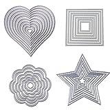 Dies Cut Cutting Die Heart Stitched Square Flower Love Star Nesting Metal Embossing Stencils for DIY Scrapbooking Photo Album Decorative DIY Paper Cards Making Gift Debossing Border 4set (Set 1)