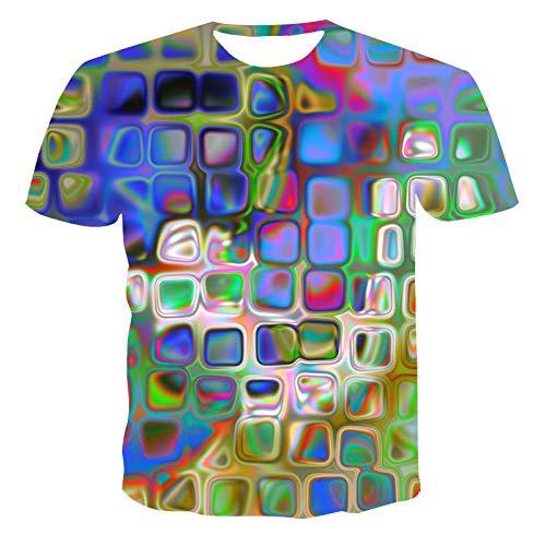 HUITAILANG Camisetas Hombre Gráfico 3D, Camisetas Divertidas, Colorido, Manga Corta, Talla Grande Suelta, Verde Claro, Grande