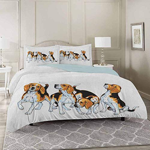 YUAZHOQI Beagle Duvet Cover Set Queen, Four Beagle Hounds Siblings Playing Foxhound I Love My Dog Breed Theme Decorative 3 Piece Bedding Set with 2 Pillow Shams