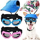 2 Pieces Baseball Pet Cap 4.3 Inch Diameter Dog Hat Visor Sunbonnet Outfit with Ear Holes and Adjustable Chin Strap, Cool Dog Goggles Dog Eyewear with Strap for Puppy Cat (Floral Pink, Plain Blue)