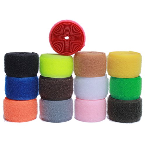 Sew on Hook and Loop Nylon Fabric Magic Fastener Tape by The Yard with Non-Adhesive for DIY Craft Supplies (1 inch Wide, Pack of 13 Colors, 2 Yards of Each Color, 1 Yard Hook + 1 Yard Loop)