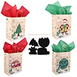 Tomaibaby 16ピースクリスマストリートバッグ付きスクラッチペーパーパネルティッシュクラフトペーパーホリデーギフトバッググッディキャンディポーチ用クリスマスラッピングプレゼントキッズdiyクラフト