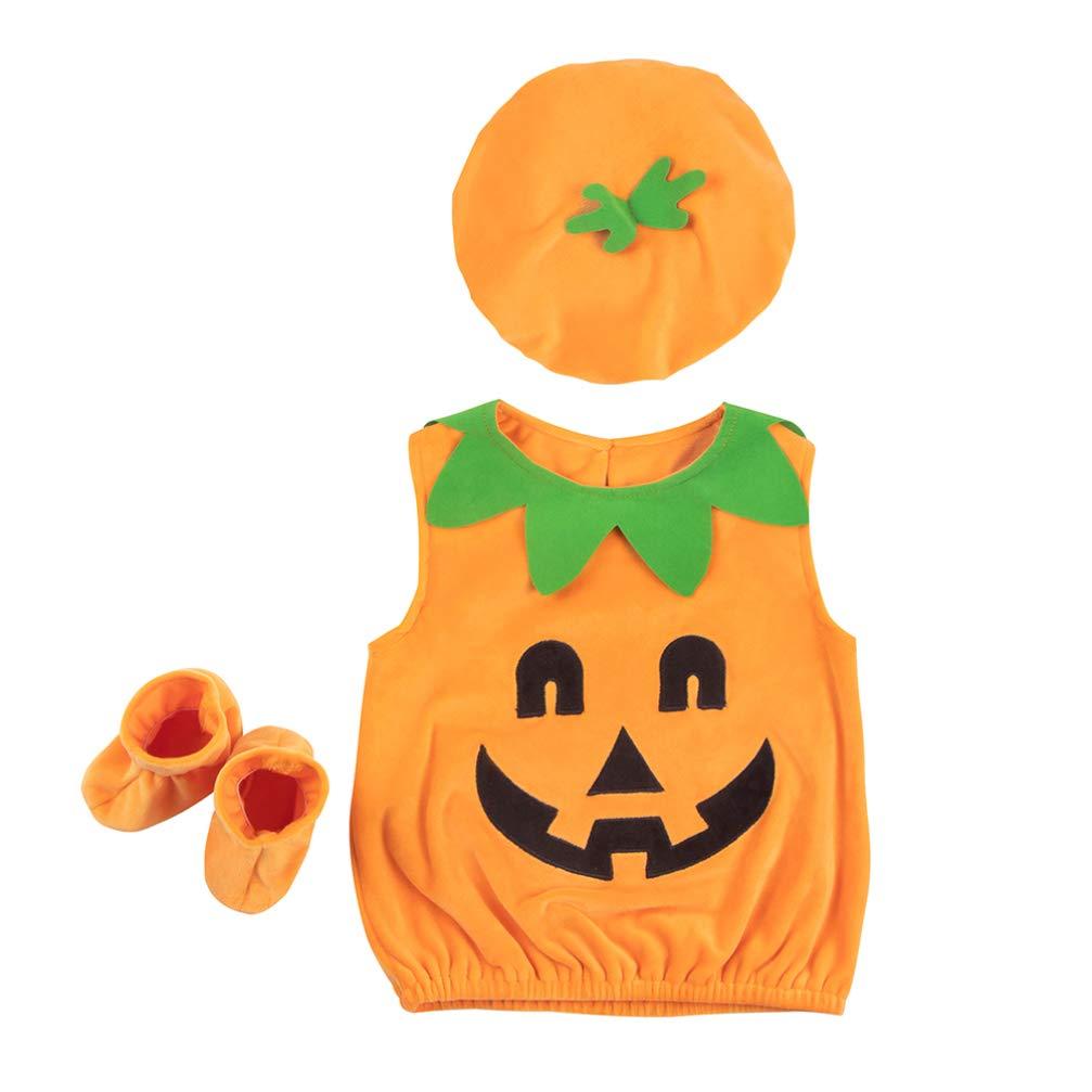 Amosfun Kit de Disfraz de Calabaza para niños de Halloween Abrigo ...