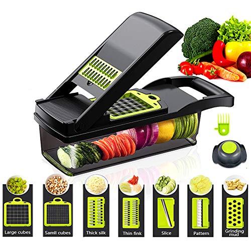 11 en 1 multifunción de verduras y frutas picadora de cocina multifunción en cubitos vegetales artefacto de patatas rallador rallador rallador de patatas fritas rallador negro
