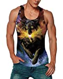 Goodstoworld Mens Y Back Tank Top Muscle Workout Exercise Fitness Stringer Galaxy Wolf Tanks Tops Bodybuilding Sportwear Sleeveless Black Animal Shirts Tee For Gym Running X-Large