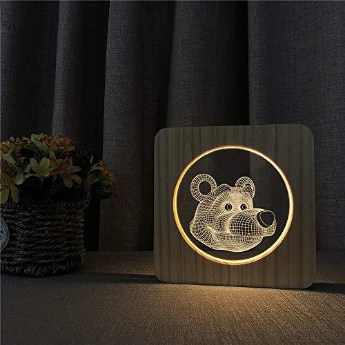 Cartoon Bär Arylic Carving Nachtlicht 3D LED USB Tischlampe Kinder Geburtstagsgeschenk Nachtzimmer Dekoration