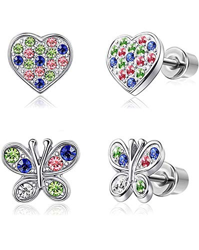 YADOCA 2 Pairs Stainless Steel Earrings for Kids Women Girls Heart Flower Screwback Stud Dangle Childrens Earrings Set