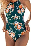 CUPSHE Women's Teal Floral Scalloped One Piece Swimsuit Padded Bikini, M
