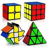 JQGO Cubo Magico Set 2x2 3x3 Pyraminx Fenghuolun, 4 Pack Puzzle Cubes Rompecabezas Cubo Mágico PVC Pegatina para Niños y Adultos