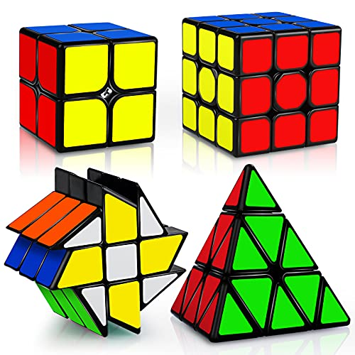 JQGO Magic Cube Set, 4 Pack Speed Magic Cube Set 2x2 3x3 Pyraminx Fenghuolun Cube, Easy Turning 3D Puzzle Cube Games Toy Gift for Kids Adults