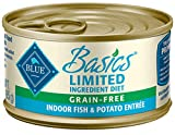 Blue Buffalo Basics Limited Ingredient Diet, Grain Free Natural Adult Pate Wet Cat Food, Indoor Fish 3-oz cans