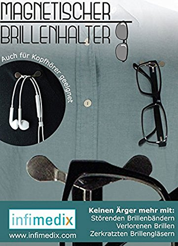 Infimedix Magnetischer Brillenhalter (für Lese- Sicherheits-und Sonnenbrillen, Kopfhörer, Schreibgerät mit Clip)
