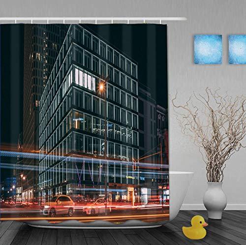 Mmxhn Duschvorhang Polyester 180X180Cm Kubisches Gebäude Bad Vorhang Father's Day GIF-1