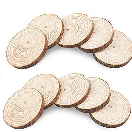 Egurs Holzscheiben zum basteln 10 Stück Baumscheiben, Natur DIY Handgemachte Handwerk Bemalen Dekoration Holz Scheiben mit Loch Tischdeko Hochzeits- und Weihnachtsdekoration 6-7cm