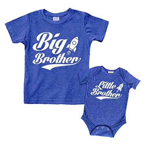 Big Brother Little Brother Shirts Matching Outfits Sibling Gifts Baby Set (Charcoal Blue, Kid (4Y) / Baby (3-6M))