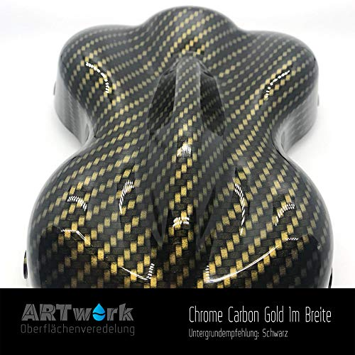 Wassertransferdruck Folie ARTwork Chrome Carbon Gold 1m Breite WELTNEUHEIT !!!