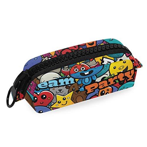 Federmäppchen aus Segeltuch mit Reißverschluss, Graffiti-Figuren, Stifttasche, Kosmetiktasche, Make-up-Tasche, Basteltasche