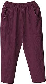 aihihe Wide Leg Pants for Women Plus Size Casual Elastic Waist Cotton Linen Crop Pants Lightweight Capri Pants Trousers