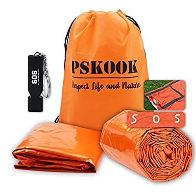 PSKOOK Emergency Sleeping Bag Lightweight Survival Shelter Waterproof Thermal Bivy Sack Tent Emergency Blanket with Mini Pocket and SOS Marks for Outdoor Hiking Camping Backpacking (Orange 2PC)