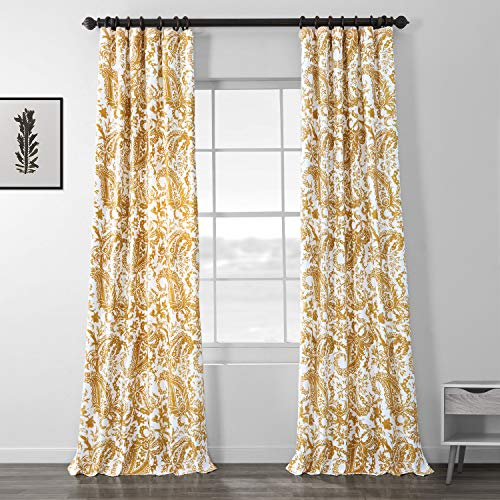 "Half Price Drapes PRCT-D09B-96 Printed Cotton Curtain, Yellow, 50"" x 96"""