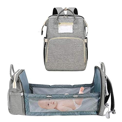 MFFACAI 5 in 1 Baby Changing Bag, Foldable, Multifunctional, Large Capacity, Travel Backpack With Mattress for Traveling, Outdoor Camping (Color : Gray)
