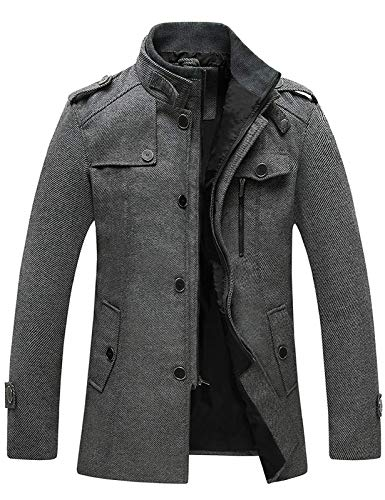 Wantdo Men's Casual Coat Cold Weather Wool Jacket Overcoat Grey Medium